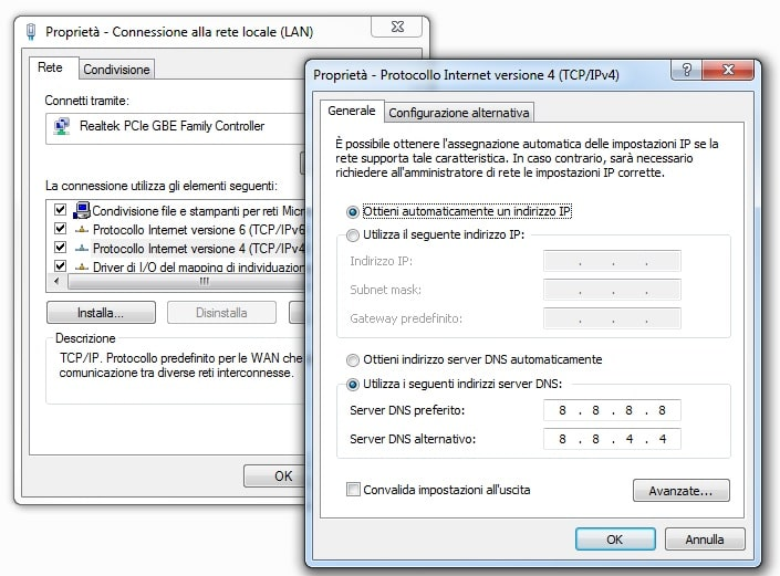 cambiare dns su windows 7