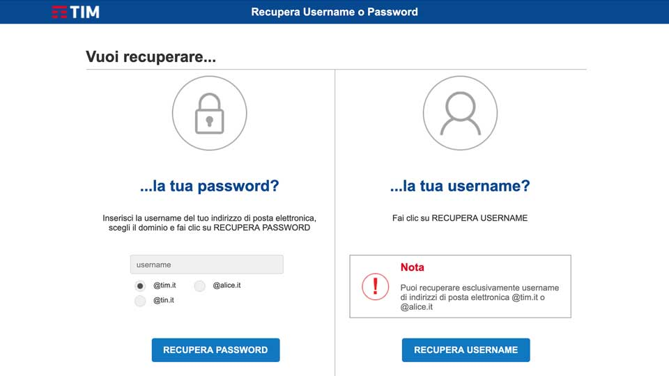 recupero password alice